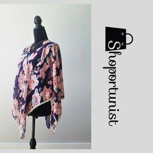Jackets & Blazers - Floral Poncho